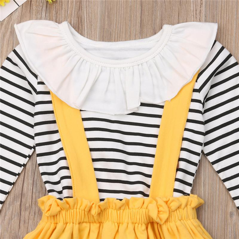 PUDCOCO Tout-petits enfants bébé automne Casual rayé Outfit enfants Vêtements Ensembles Hauts T-shirt + Tutu + Jupes Bandeau Set 2-7Y