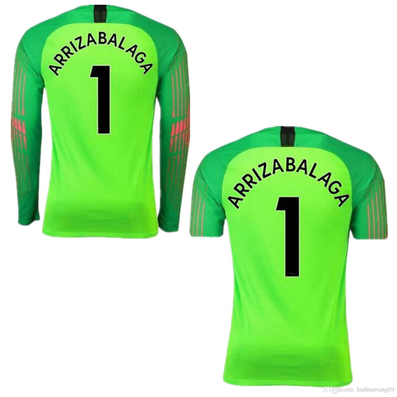 48d4c45fa7001 2018 2019 The Blues Fluorescent Green   1 Kepa Arrizabalaga 13 Caballero  Portero Camisetas De Fútbol Camisetas Courtois Jersey Camisetas De Fútbol  Kit Por ...