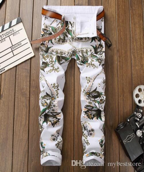 New arrival!youth Europe and America old personality white new embroidery embroidery jeans male