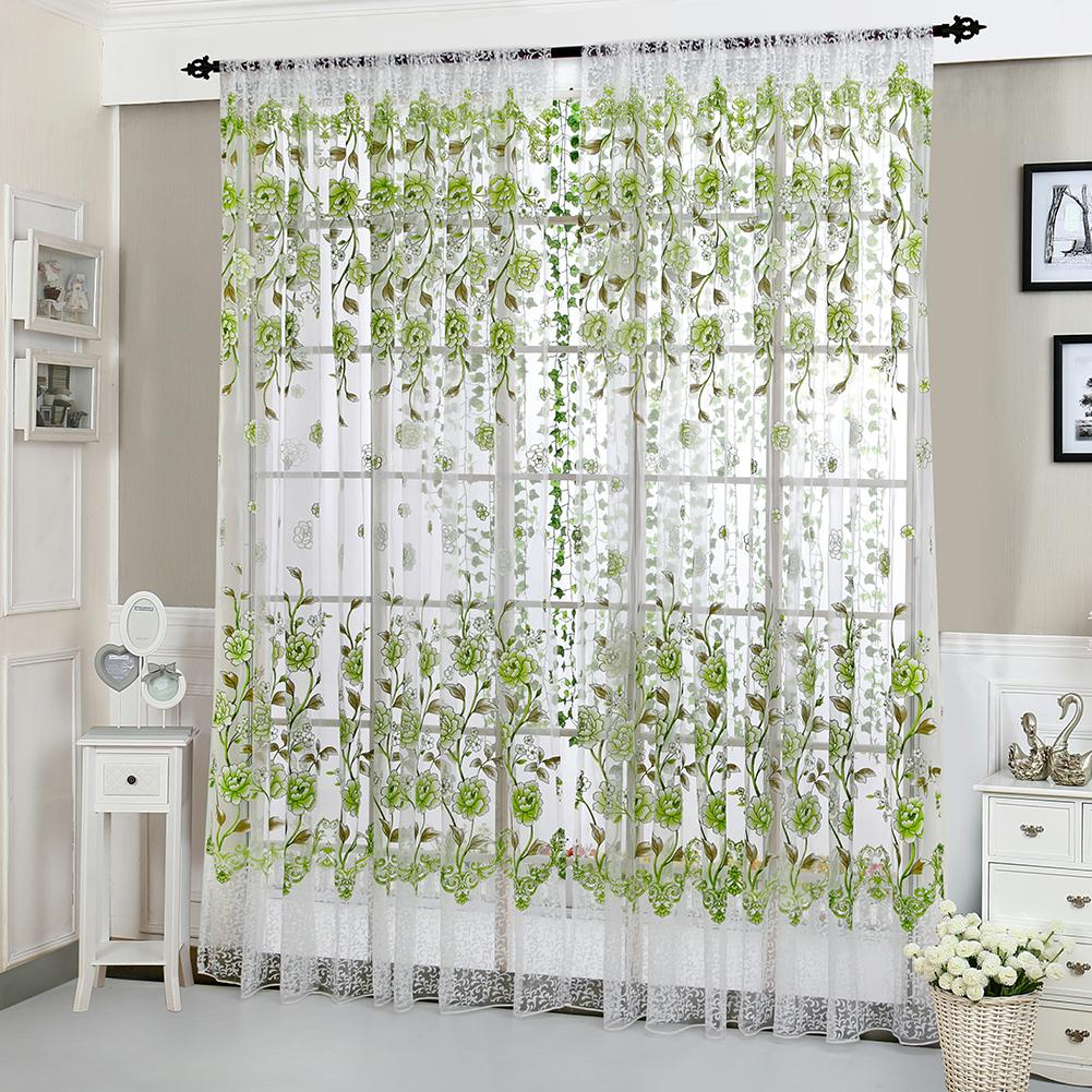 Peony Tulle Curtains For Living Room Bedroom Home Door Window Sheer