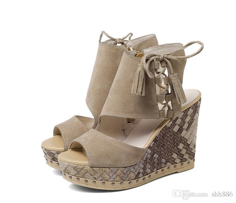 e05df933b8e Hot Sale Women Wedge Sandals Genuine Leather Rivets Tassel Fish Mouth Zip  Sandal Cut Outs High Heels Shoes Women Party Sandals Summer Style  Bridesmaid Shoes ...