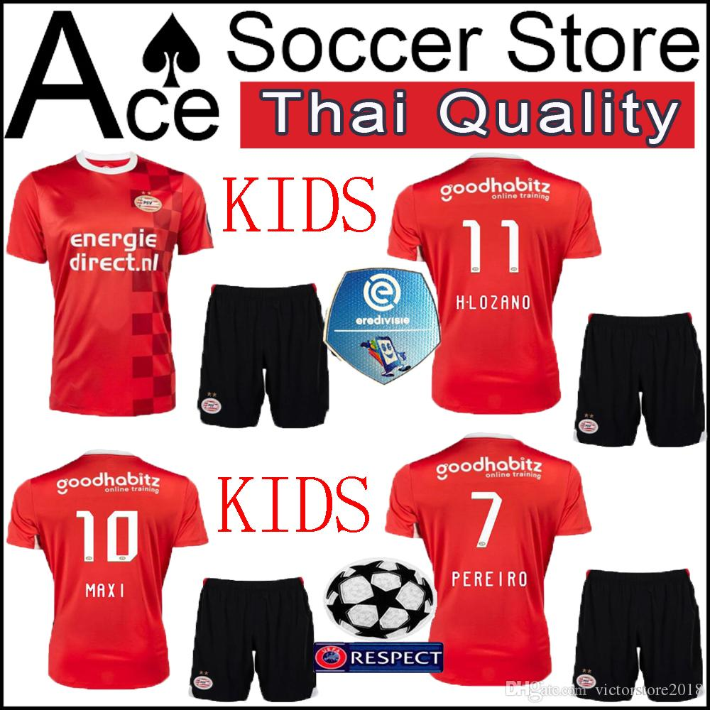 7e8288b56 2019 New PSV Eindhoven Kids Kit Home Red Jerseys 19 20 H.LOZANO Erick  Gutierrez L.DE JONG Football BERGWIJN 2019 2020 Boy Set Soccer Shirt Child  From ...