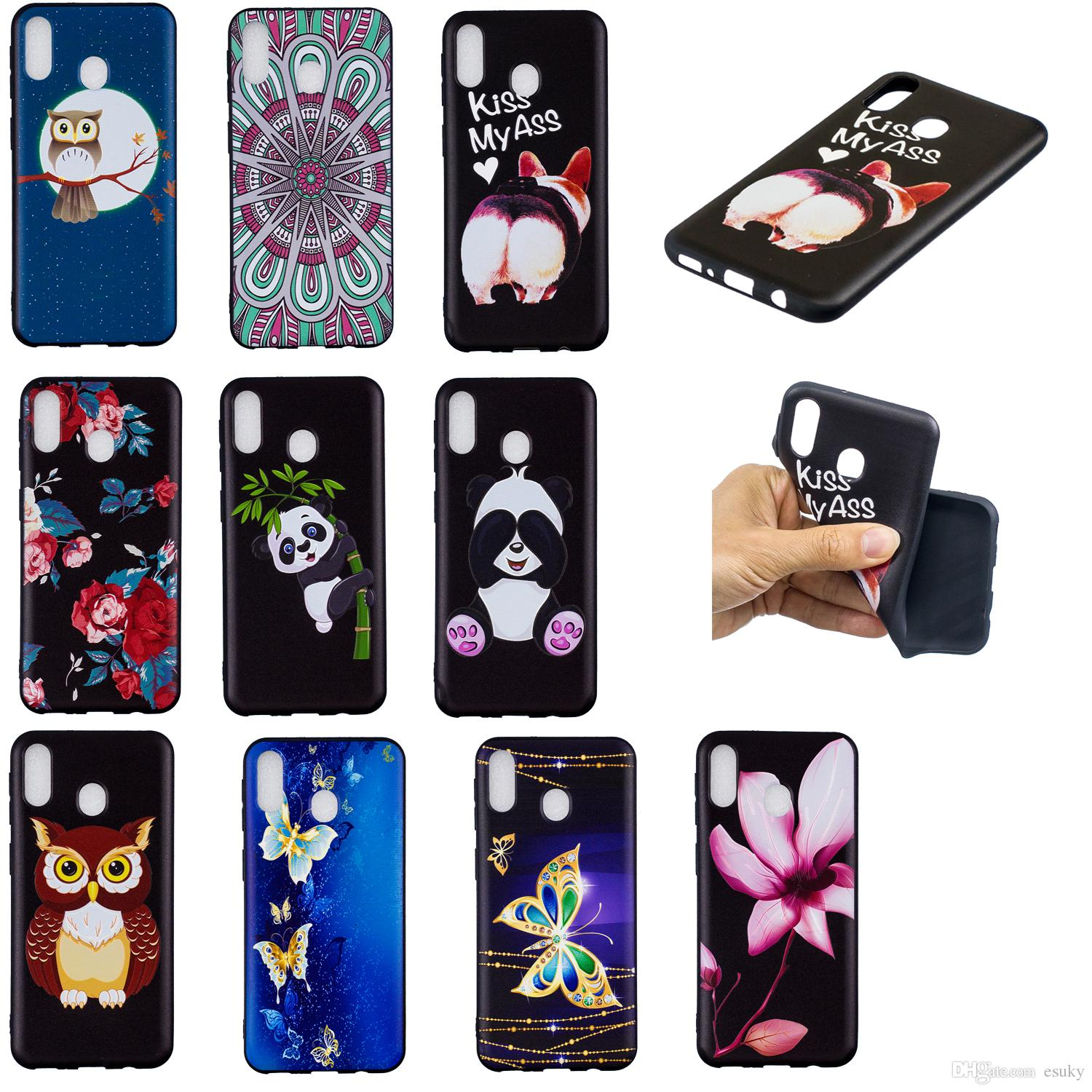 Soft TPU Back Phone Case For Samsung M10 20 S10 10e 9 8 7 Slim Fit Flower butterfly owl panda Case for Samsung A3 5 6 7 750 530 510 Cover