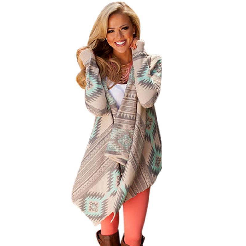 eed23f851fc7 Compre Cardigan Mujer 2019 Otoño Venta Caliente Manga Larga Azteca Impreso  Jerseys De Punto Suéter Cardigan Para Las Mujeres Ocasional Ropa De Abrigo  De ...