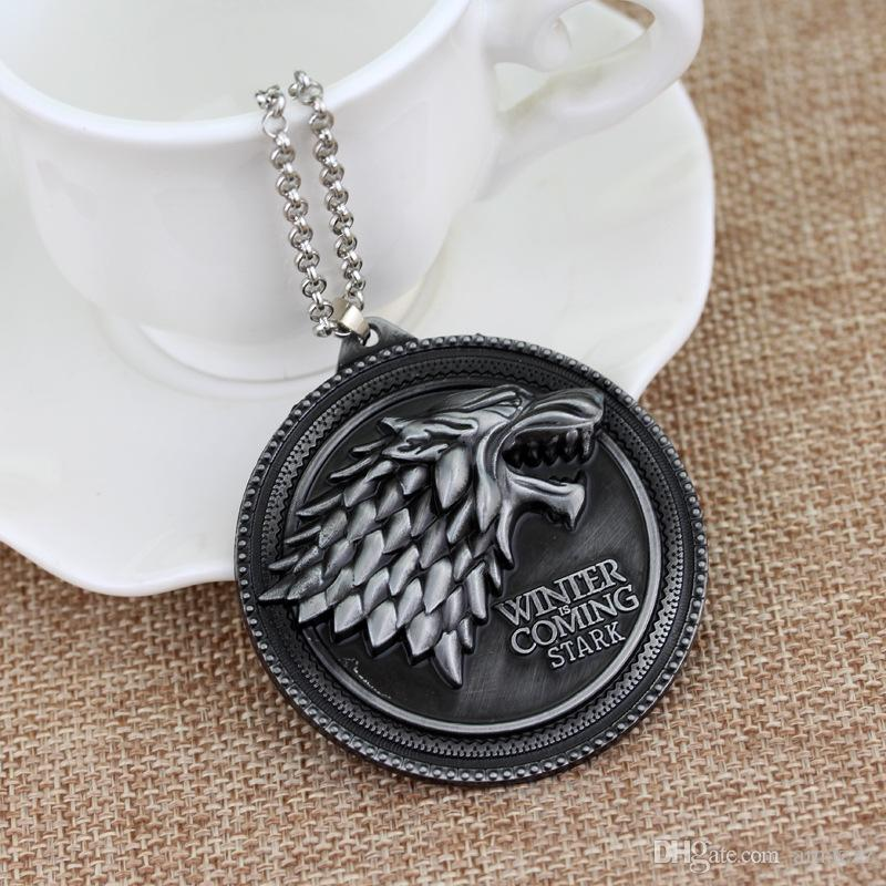 Game of Thrones necklace House Stark Winter Is Coming Metal Family Crest pendant jewelry souvenirs gift Maxi Wolf Punk Men