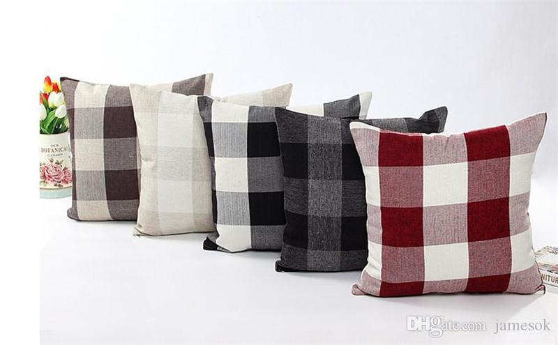 Plaid Pillowcase Check Pattern Pillow Cover Tartan Design Linen Cotton Bedding Home Textiles 9 Styles Optional 45*45cm D56