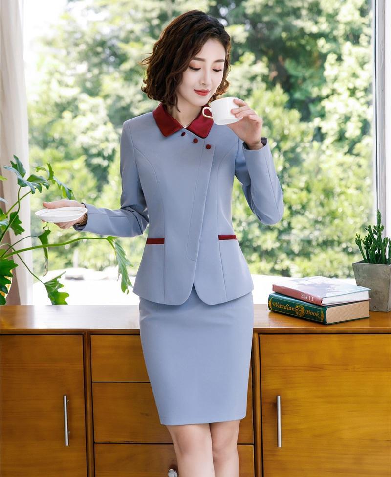 5736253f7 Compre Moda Para Mujer Chaqueta Gris Trajes De Negocios Para Mujeres Con  Falda Y Conjuntos De Chaqueta Ropa De Trabajo Elegante Uniforme De Oficina  Diseño ...