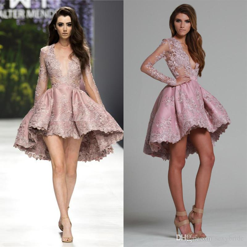 a364482af4ac5 Rose Pink High Low Prom Dresses Short 2018 Lace Appliques Deep V Neck Long  Sheer Sleeves Lace Mini Homecoming Dresses Party Dress Petite Prom Dress  Plus ...