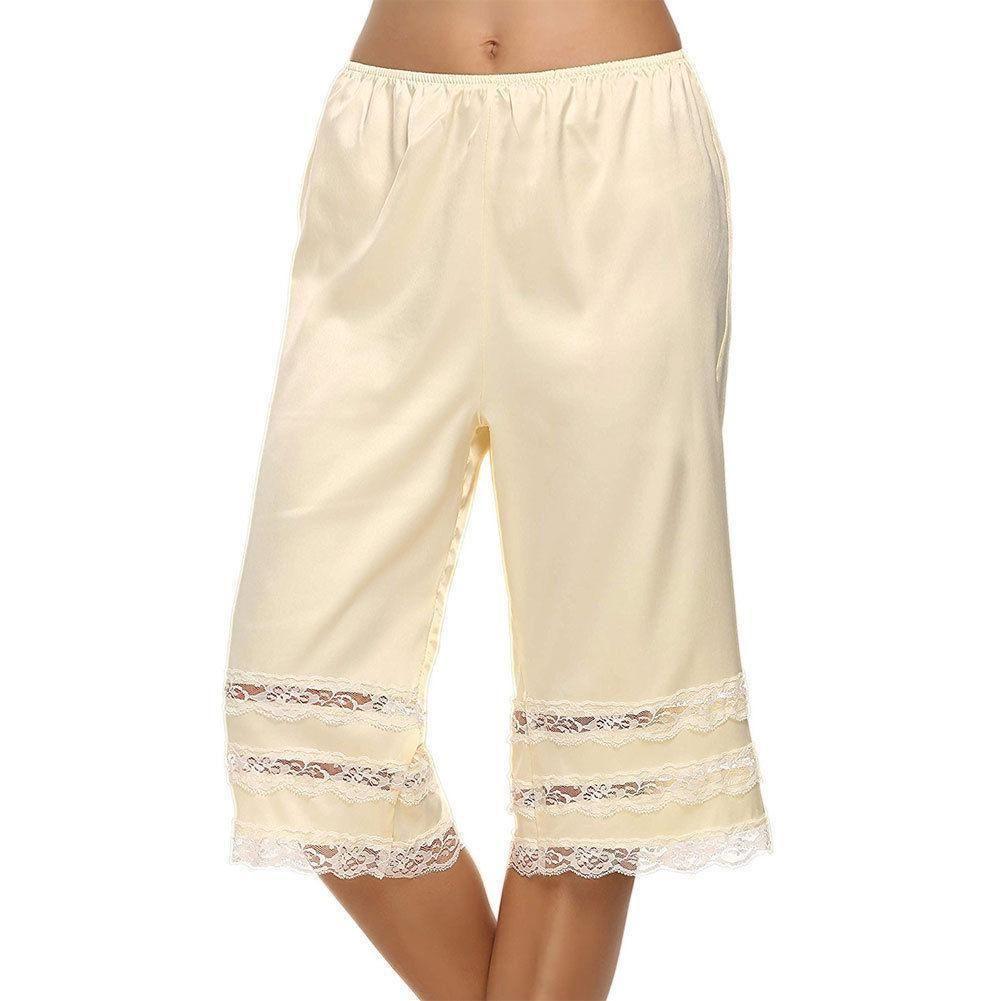 b3d8c7afb Compre Dama Mujer Pantalones De Seda De Punto Calzoncillos Ropa Interior  Pettipants Francés Bragas Transpirable Suave Encaje Capris Buena Calidad A   22.76 ...