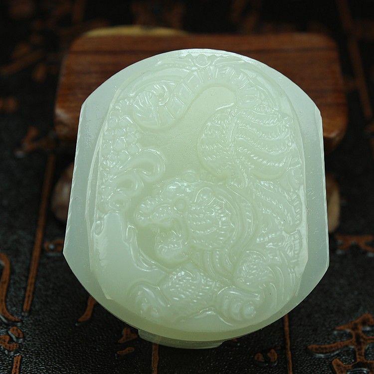 Unique fashion natural white jade carving pingan buckle pendant necklace