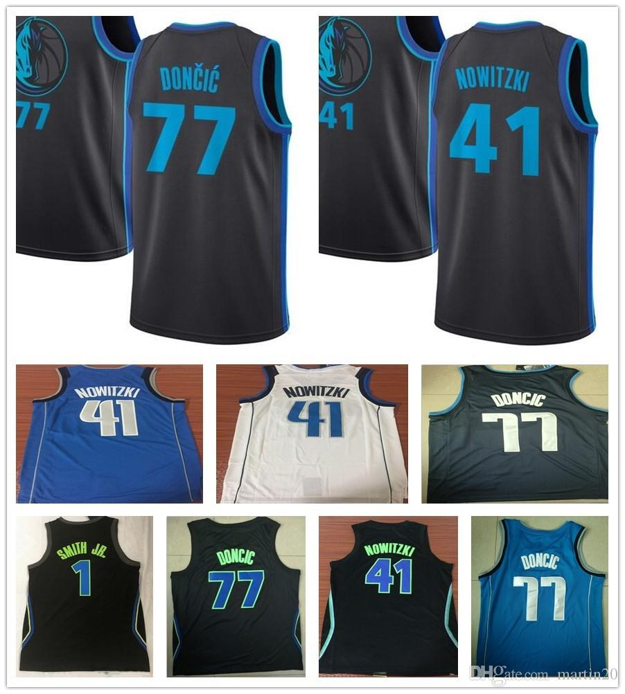 finest selection 56469 16bbc 2019 New City Edition Navy Blue 41 Dirk Nowitzki Jersey White Black  Sportswear 1 Dennis Smith Jr. 77 Luka Doncic Jerseys Breathable Shirts