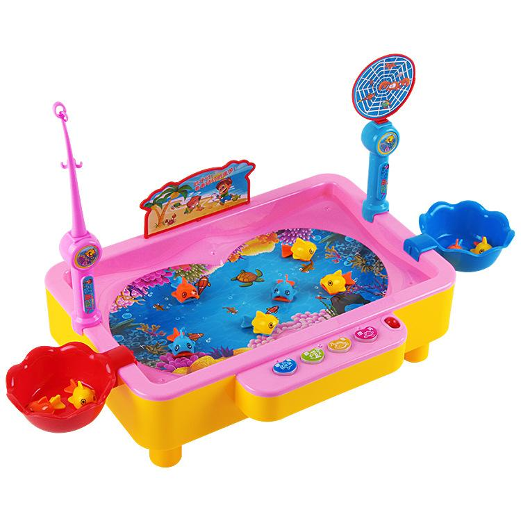 Children electric fishing toys- playing water toys- magnetic fishing toys-fishing pool set fishing basin