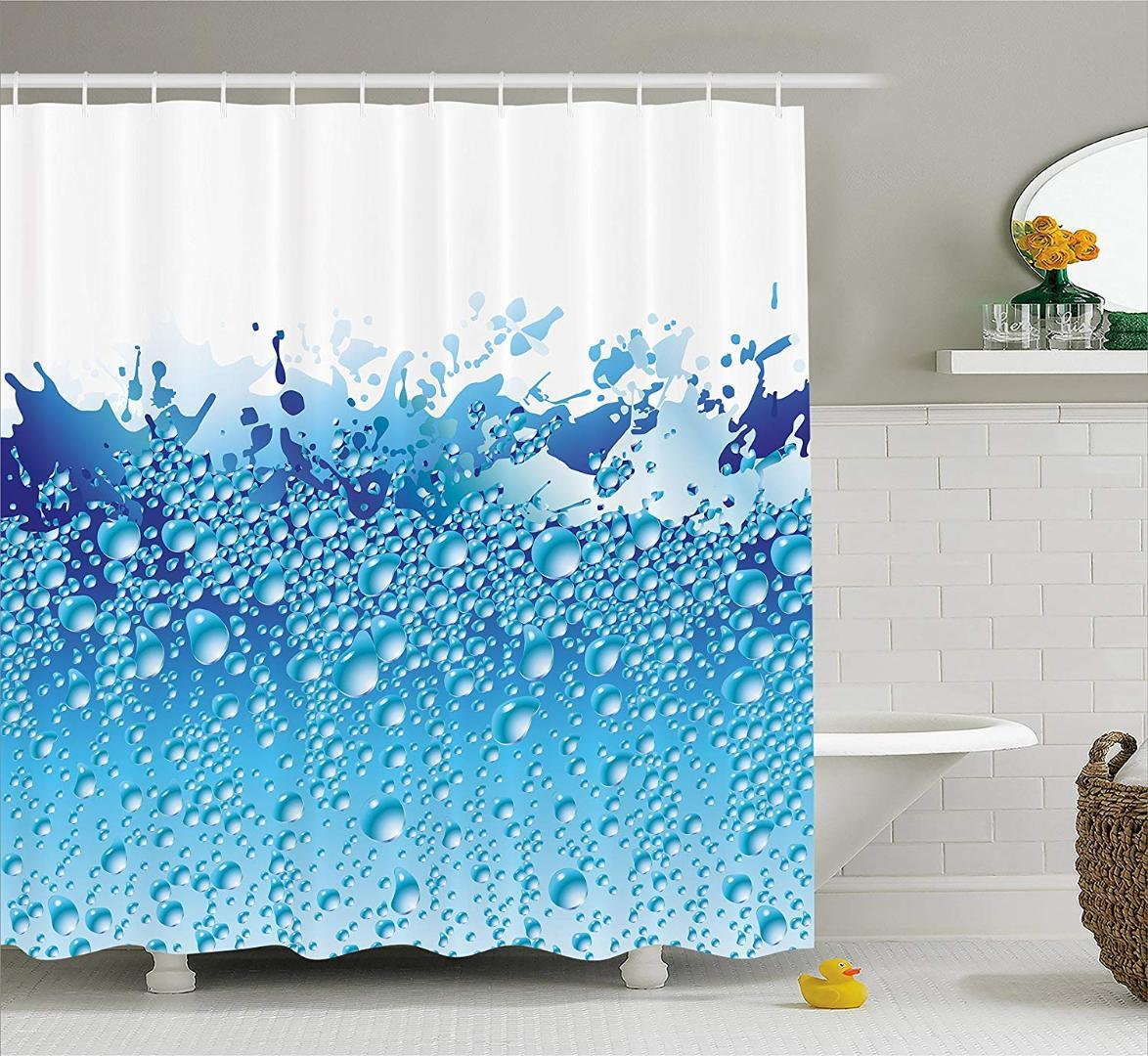 Moderne Duschvorhang Aquarium wie Wasser Bild mit Blasen spritzt Drops  Print Stoff Badezimmer Set weiß dunkelblau und Himmel