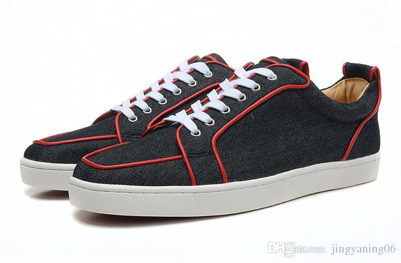 d6cd784f7ce MFF887A Size 36-46 Men Women Black Snake Print Leather Low Top Lace Up  Fashion Red Bottom Sneakers, Unisex Luxury Brand Comfort Casual Shoes