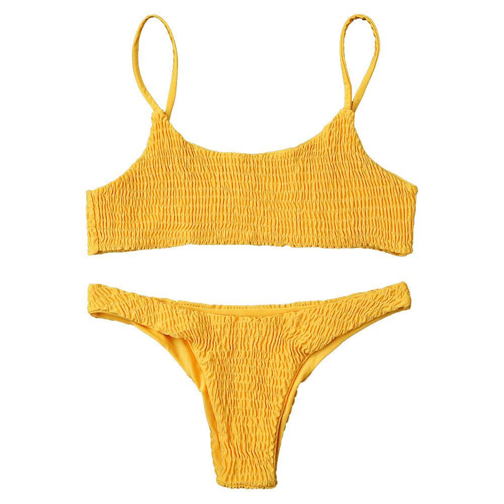 499488de154d9 2019 2019 LANGSTAR Women Swimwear Bikini Cami Smocked Bikini Top And  Bottoms Sexy Low Waisted Spaghetti Straps Swimsuit Women Bathing Suit From  Pittsburgh