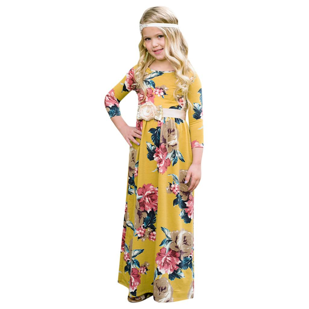 b5a5ded10 Compre TELOTUNY Fashion Toddler Baby Girl Kids 3 4 Manga Floral Plisado  Casual Princesa Vestido Largo Maxi 2019 Newst Baby Dress Z0208 A  40.59 Del  ...