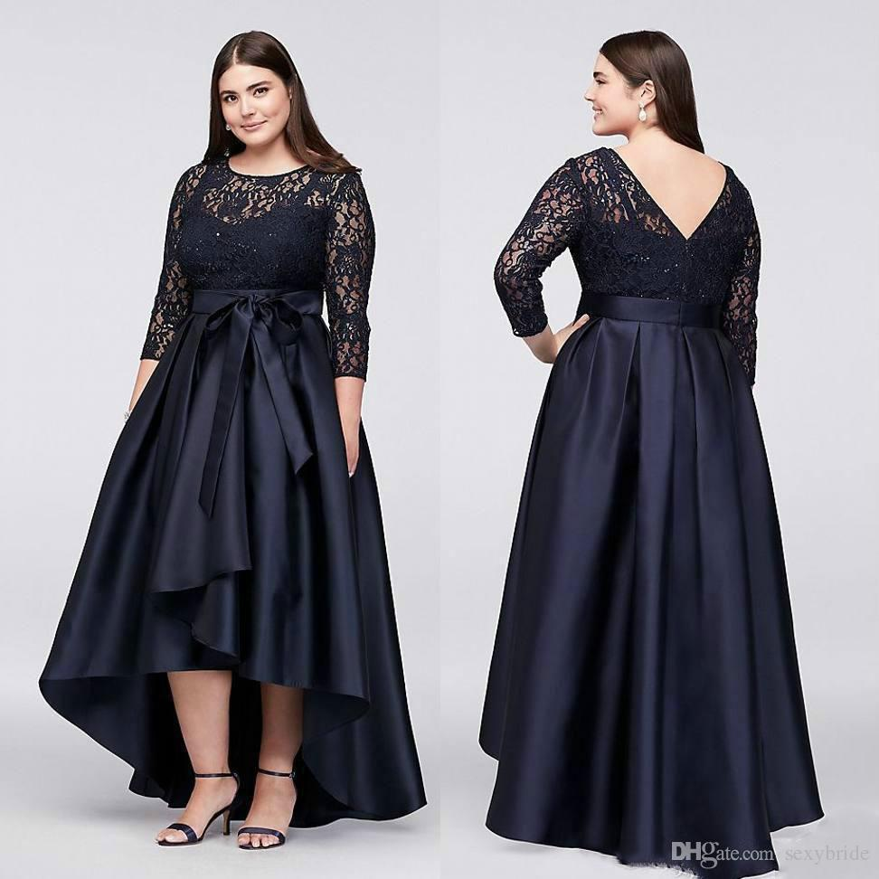 efc779d88f Plus Size Mother Lace Formal Wear 3 4 Sleeve Wedding Guest Black Prom Party Evening  Gowns Mother Of The Bride Dress Mother Groom Dresses Mother Of Bride ...