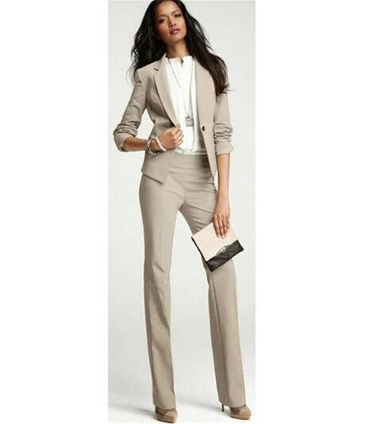 30391cfb783b3d Khaki Business Pantalons costumes pour femmes, plus la taille des dames  Blazer croisé avec pantalon de travail pantalon de travail des femmes sur  ...