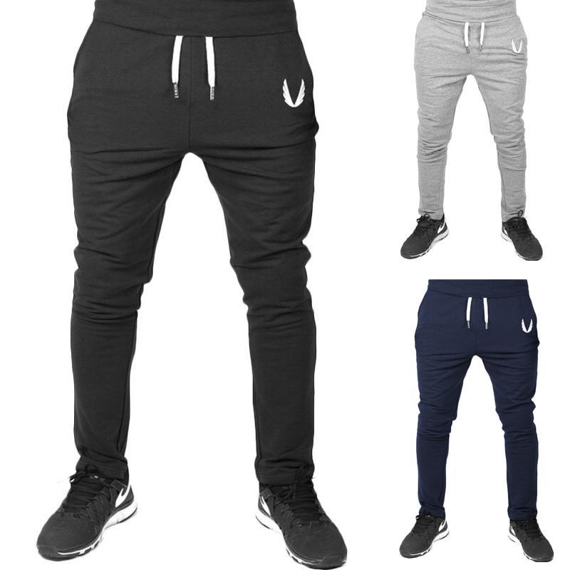 Jogger Pants Sports Gym Pants Casual Elastic Cotton Mens Fitness ... 1972f35e1fe8