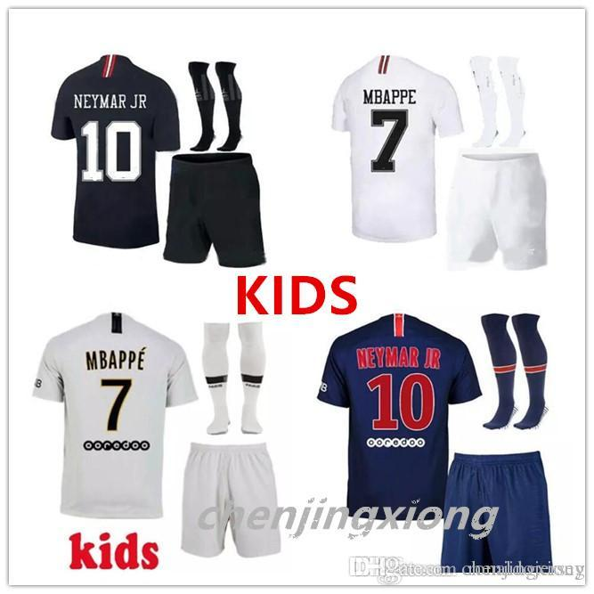 57bdec6ee PSG2018 2019 Paris Kids Kit Soccer Jerseys 18 19 Mbappe Home Away ...