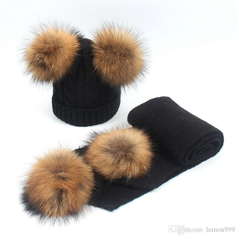 391f80e25a8ce Winter Baby Beanies Wool Boys Girls Hats Knitted Hat Scarves Set Raccoon Fur  Pom Pom Ball Caps Children Hats Kids Warm Beanie Suits Stetson Hats Trilby  From ...