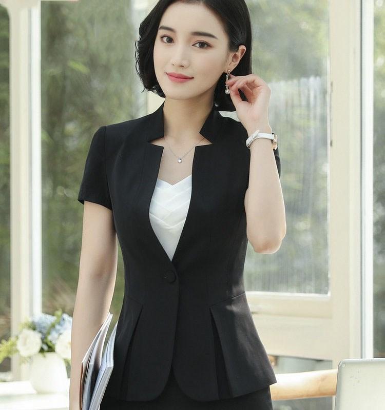 2dc8289e5 Traje de negocios Oficina Mujer Falda Traje Mujer Trabajo Para Mujeres  Elegantes trajes de falda