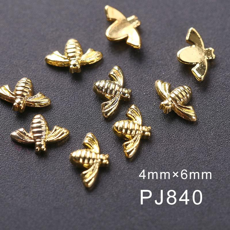 Blueness 10Pcs/lot Little Bee 3D Nail Crystals Jewelry Design Nail Art Decorations Gold Silver Metal Studs Gel/Nail Accessories