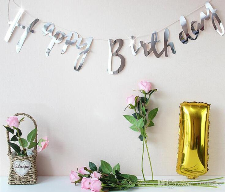 Happy Birthday Banner Girl Boy Happy Birthday Party Streamers Decoration Birthday Letter Banner Gold Silver Rainbow