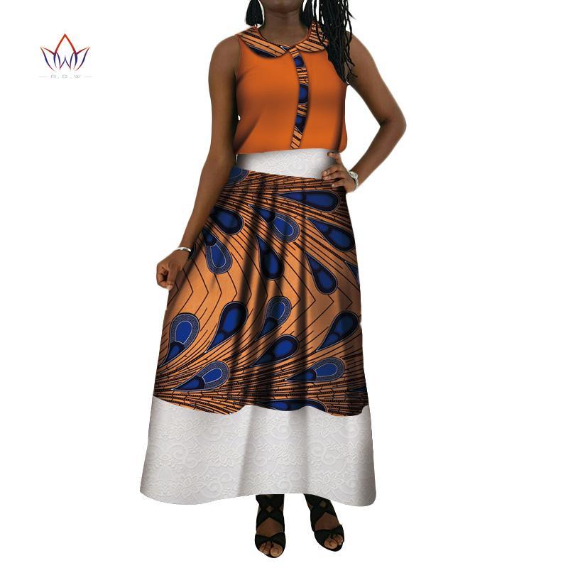 official photos 5e9ce 28e45 Completo da donna 2 pezzi Completi estivi 2019 Nuovo stile Bazin Set da  donna eleganti Dashiki Elegent Tradizionale abbigliamento africano WY4100