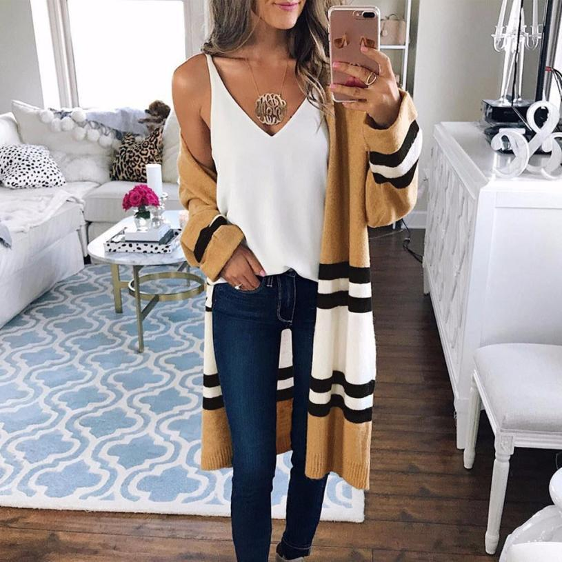 76ef86f535db Outerwear   Coats Jackets Autumn Winter Long Sleeve Loose Casual Striped  Sweater Cardigan coats and jackets women 2018NOV30