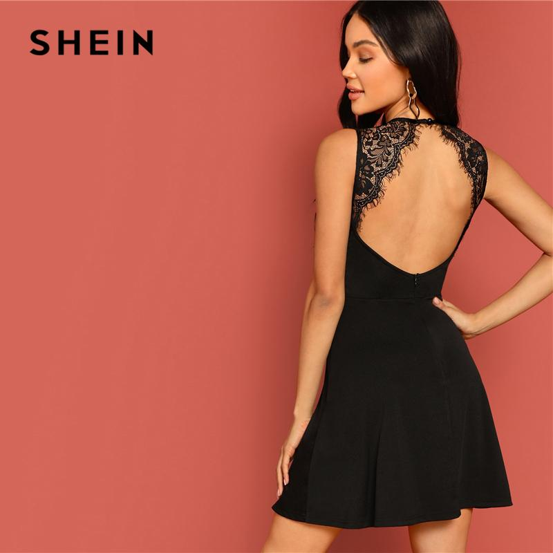 c543f145de1 2019 SHEIN Sexy Black Lace Insert Open Back Skater Fit And Flare High Waist  Sleeveless Fitted Mini Dress Women Summer Solid Dresses Q190424 From  Yizhan04