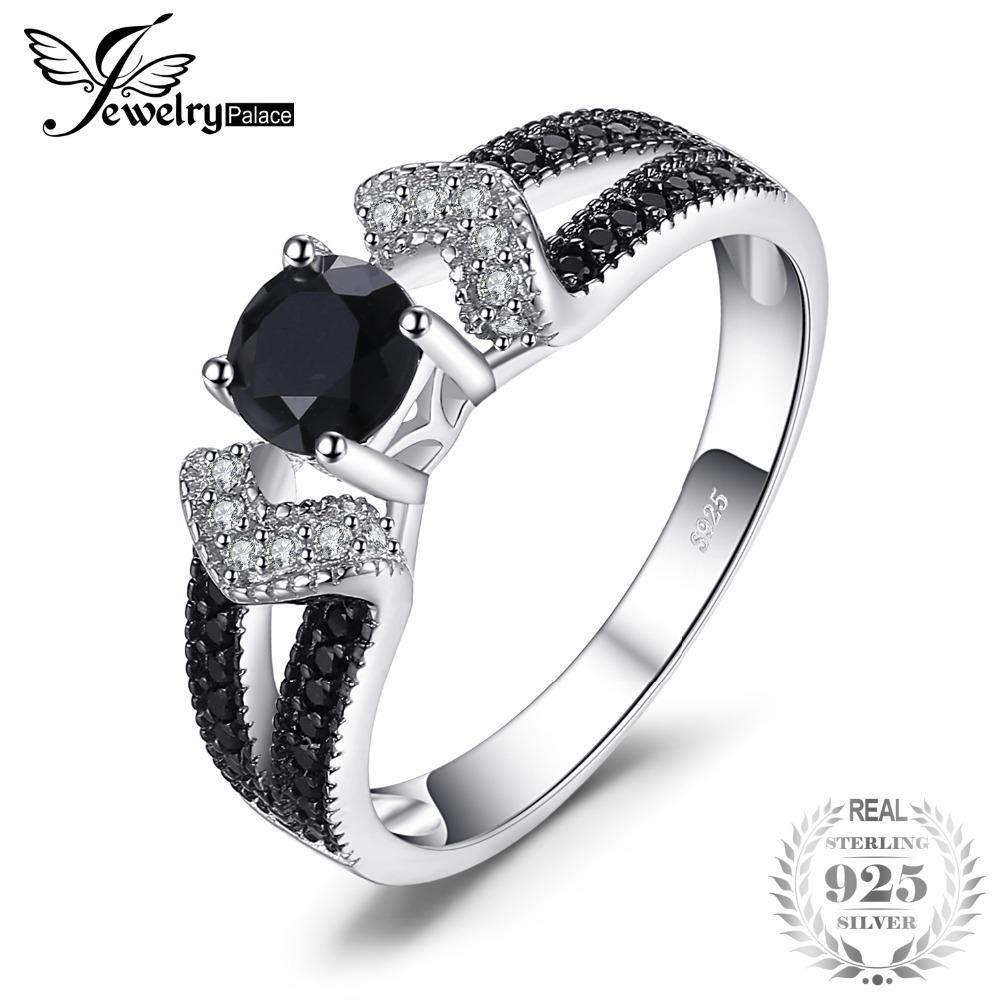 Jewelrypalace Elegant 0.8ct Natural Black Spinel Wedding Bands Rings For Women Genuine 925 Sterling Silver Statement Jewelry J190611