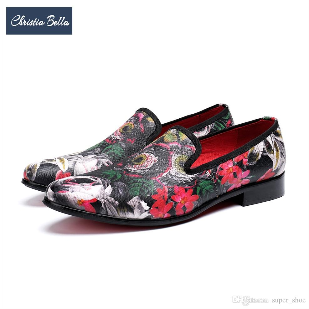 ffea9f7832c Christia Bella Fashion Floral Genuine Leather Men Loafers Party Banquet Men  Dress Shoes Slip On Smoking Slippers Casual Flats  372159 Most Comfortable  Shoes ...