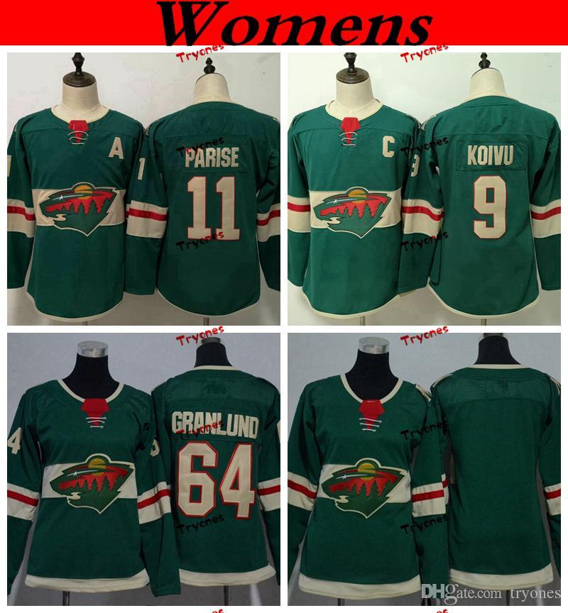 2019 Womens Minnesota Wild 2019 11 Zach Parise 9 Mikko Koivu 64 Mikael  Granlund Hockey Jerseys Home Team Green Ladie Girls Stitched Shirts From  Tryones 8e29b444b6