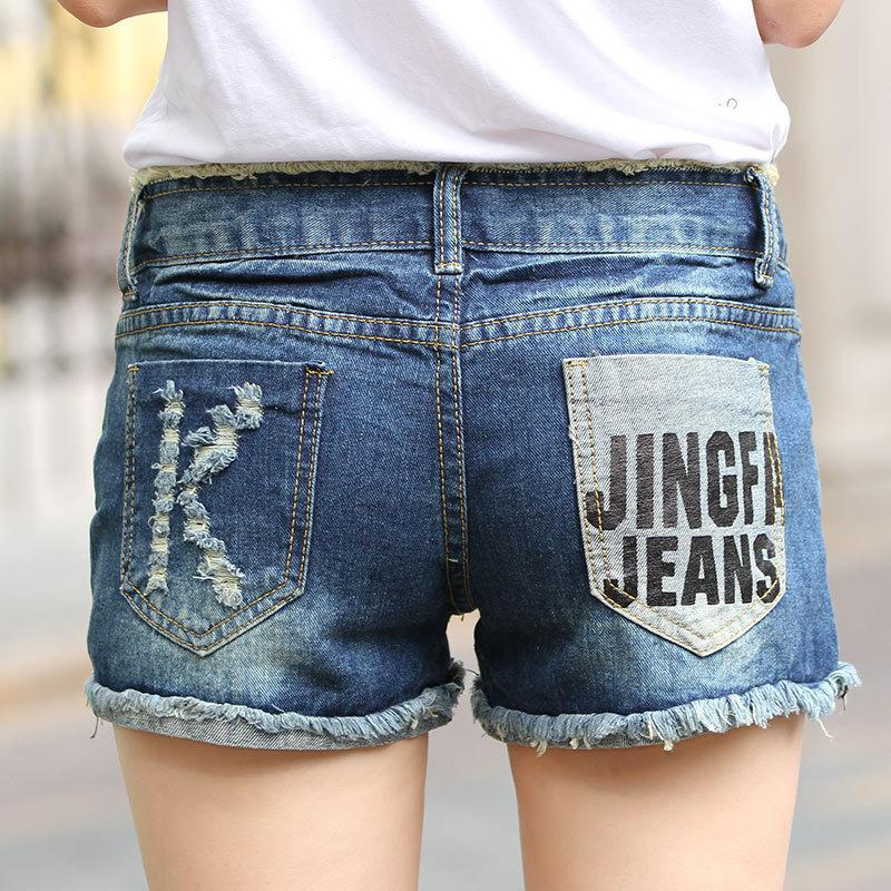 a7657b6f05 Summer New Middle Waist Rolled Edge Short Jeans Women Korean Version  Fashion Broken Holes Cat Whisker Denim Shorts T1025 C19040901