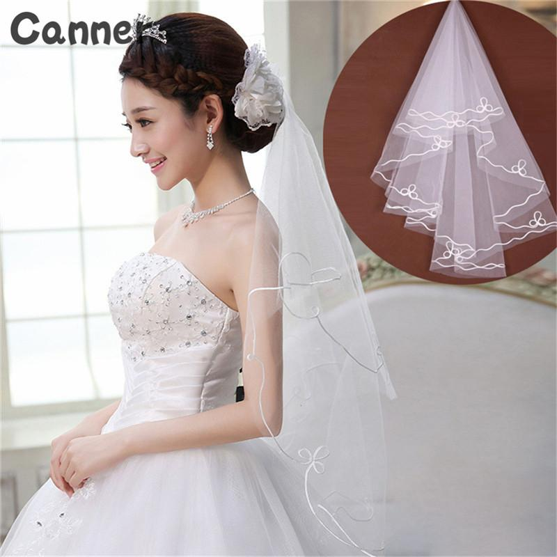 Canner Wedding Simple Tulle White Lvory One Layer 1,5 metri Veli da sposa Accessori Lace Ribbon Edge