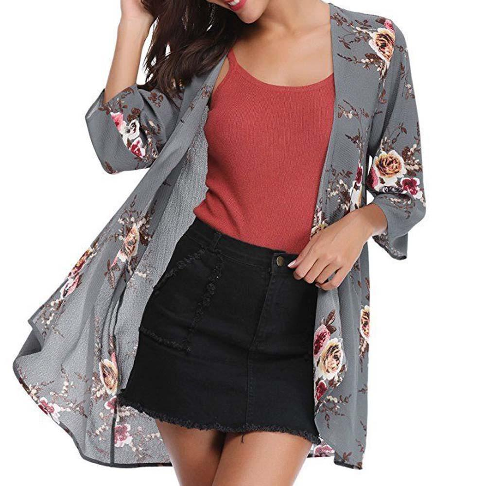 Fashionable Women 3/4 Sleeve Floral Cover Casual Blouse Tops Loose Kimono elegant and charming Cardigan Capes #20