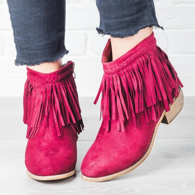 Adisputent New Women Fringe Ankle Boots Retro Solid Suede Low Heel Female Autumn Zipper Casual Booties Shoes Ladies 35-43