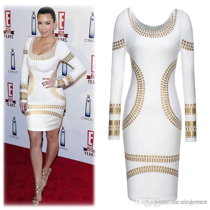 41563415af4af 2017 Sexy Femmes Robe De Mode Kim Kardashian D'été À Manches Longues Robes  Bureau Sexy Sexy Serré Discothèque Party Dress Plus La Taille XZ-26