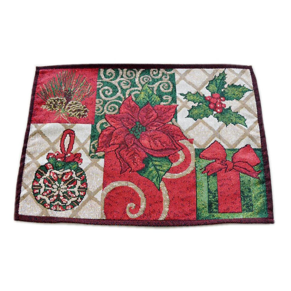 Christmas Kitchen Tool Home Decor Reusable Elegant Tapestry Holiday Party Placemat Poinsettia Embroidery European Table Runner