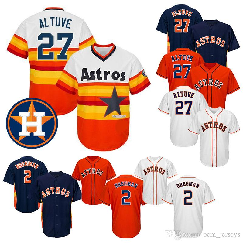 pretty nice 07ab4 b9713 Houston Baseball Jerseys astros 2 Alex Bregman 27 Jose Altuve Grey Blue  Orange White New Cool Base Stitched Jersey