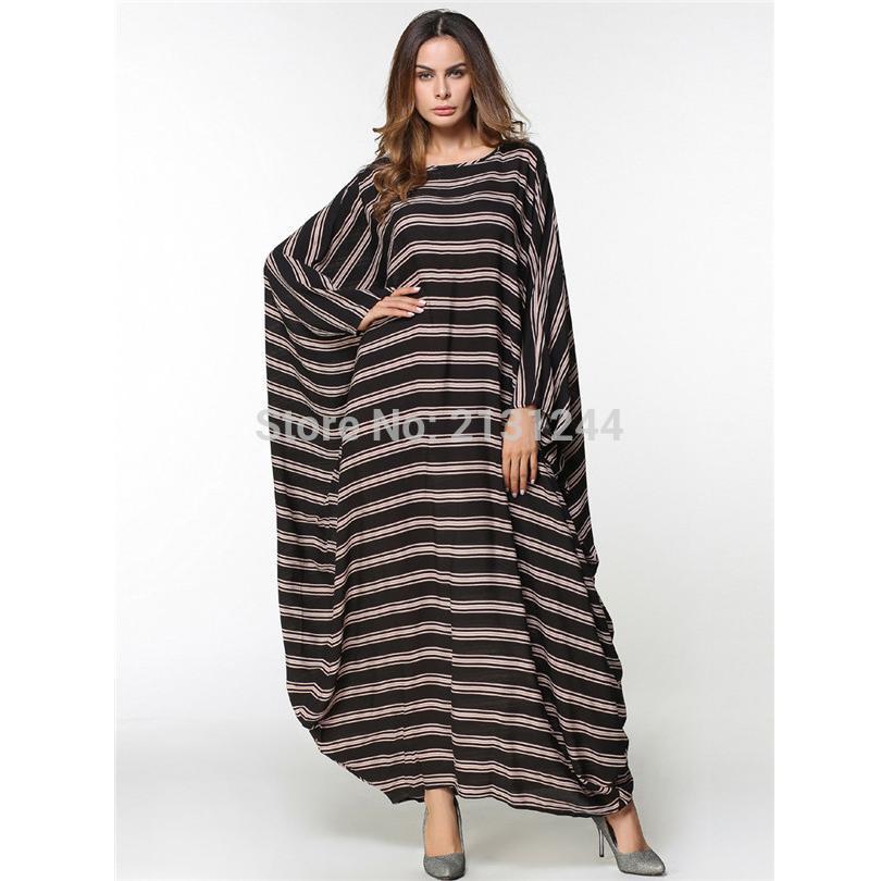 93ce076d2de Womens  Modest Muslim Islamic Clothing Loose O-Neck Stripe Full Length  Batwing Long Sleeve Abaya Dubai Dress Plus Size