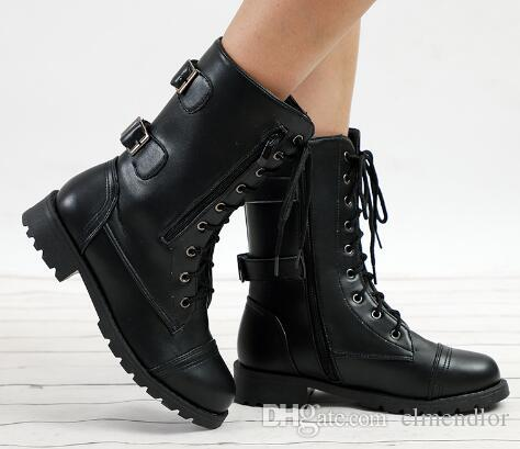 4246eb70ece4a Women Spring Platform Mid Calf Boots Female Lace Up Punk Motorcycle Boot  Plus Size Buckle Strap Zipper Ladies Low Heel Shoes Cat Boots Shoe Sale  From ...