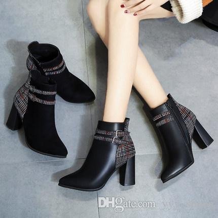 da8d3f384f569 British Style Ladies Flat Chunky Heel Short Boots Womens Shoes Girls ...
