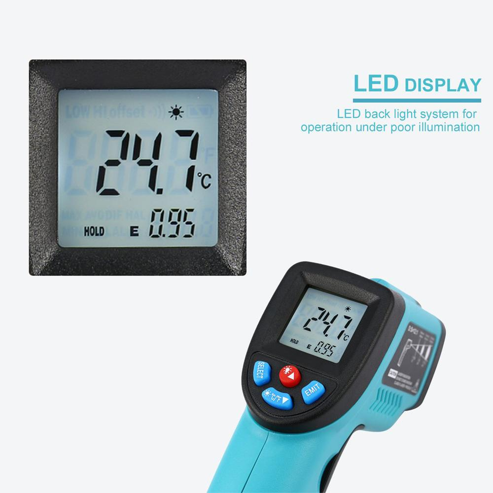 GM550 -50~550 C Digital Laser IR Infrared Thermometer LCD Display Temperature Meter Non-Contact Thermometer Pyrometer
