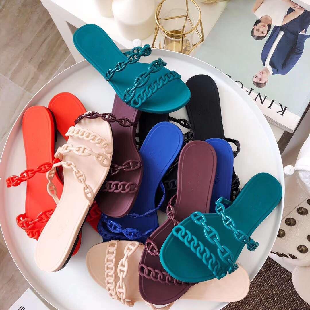 Hot Sell orgin package chic chain flat slides women designer sandals with card dust bag tradingbear