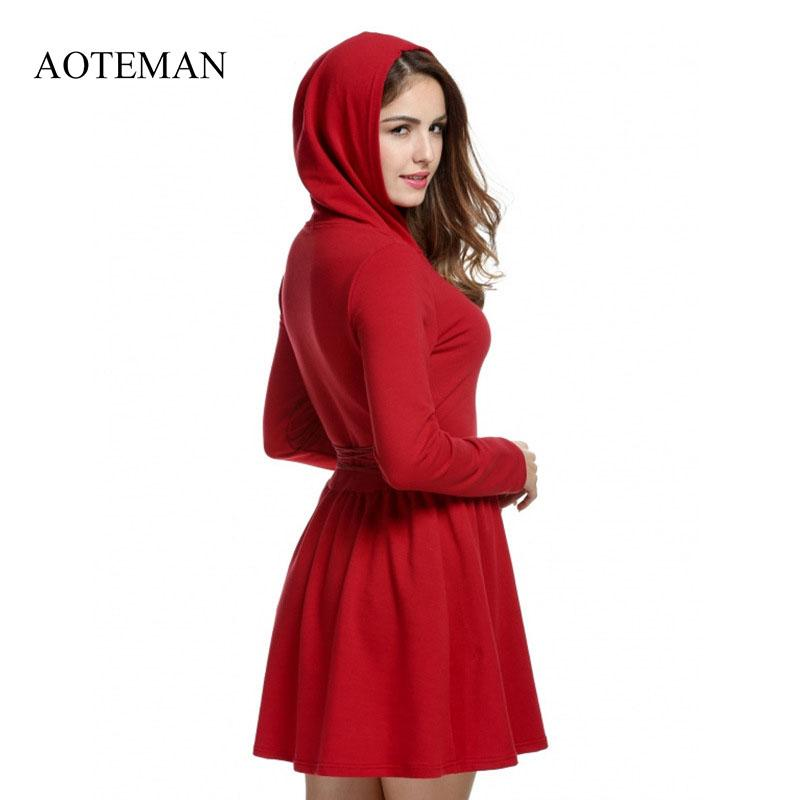 AOTEMAN Streetwear Hoodie Dress Women Sexy Long Sleeve Hooded Dresses  Elegant Black Red A Line Beach Club Dress Vestidos Casuais Special Occasion  Dresses ... 0a7ba07985