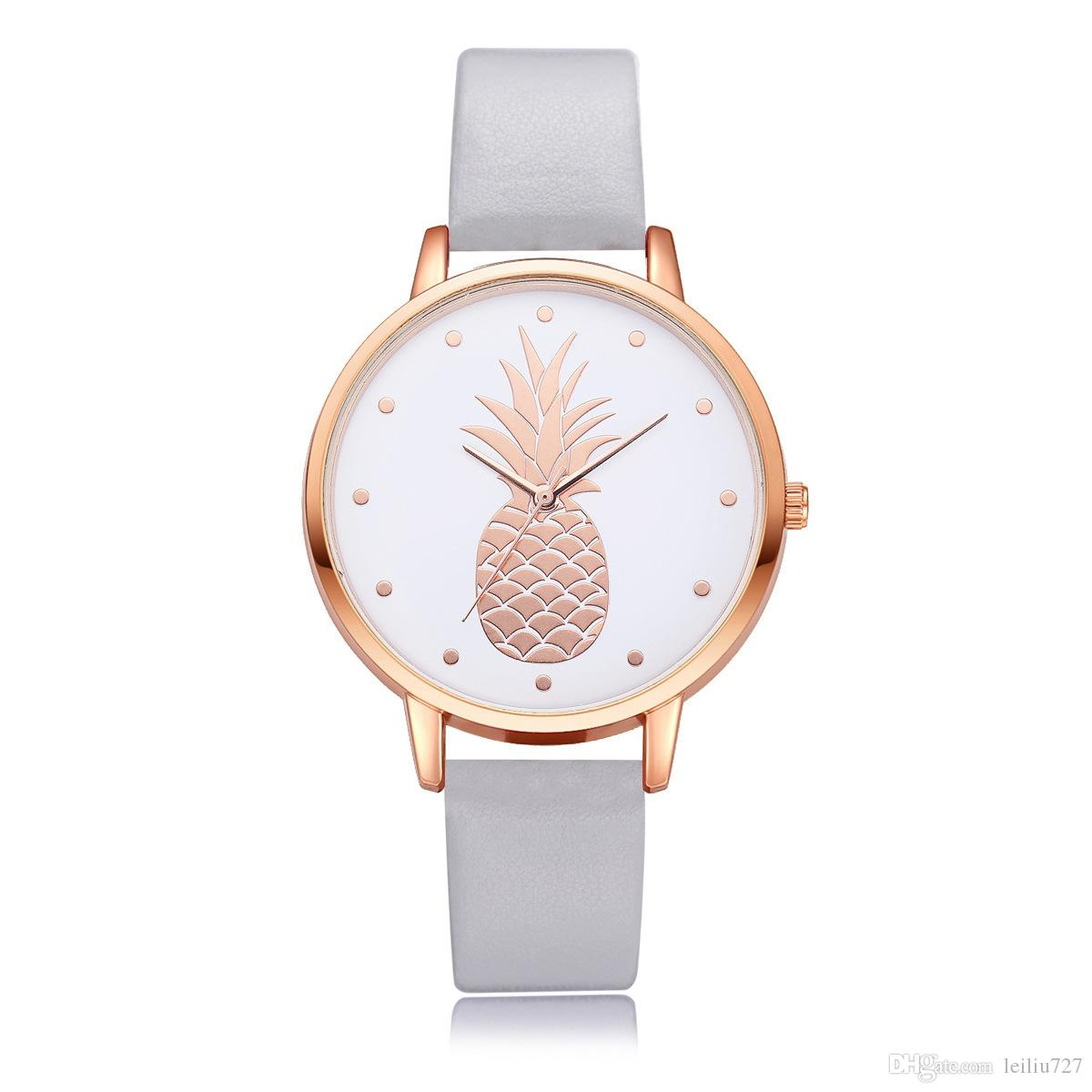 New Fashion Hot Selling Explosion Fashion Lady PU Pineapple Bracelet Circle Women Pattern Student Quartz Watch