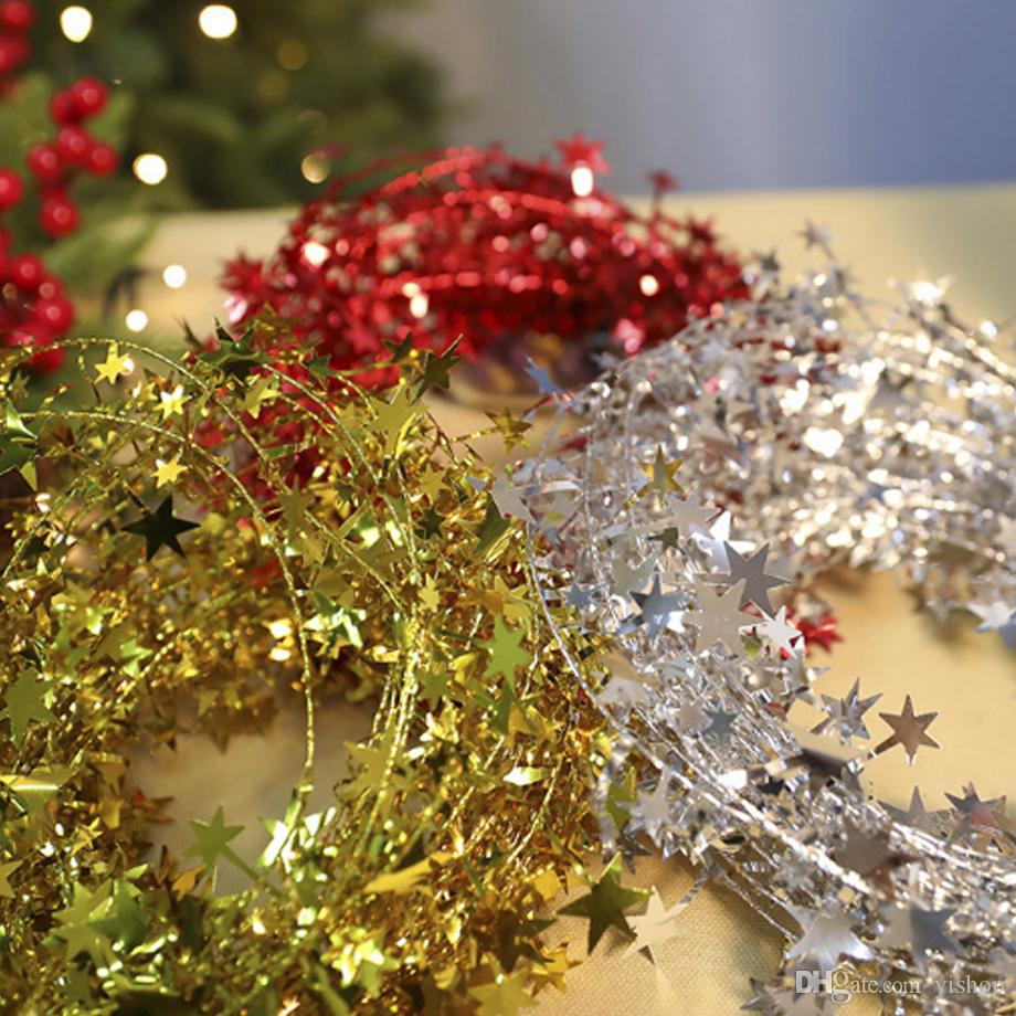 3 Colors 2m Star Rope Christmas Tree Ornaments Glittering Decorations Art Craft Christmas Ornaments Home Store Party Diy Xmas Decor