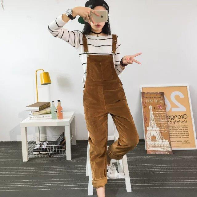 Spring Jumpsuits Women 2019 Slim-type Corduroy Overalls Female Mori girl Solid color Pants Cute Casual Jumpsuits Pants Autumn